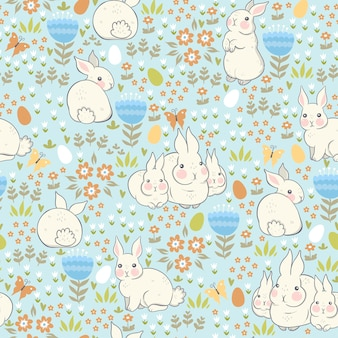 Seamless pattern with rabbits and eggs.