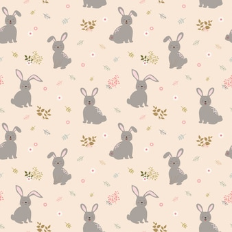 Seamless pattern with rabbits the gang on cute floral background