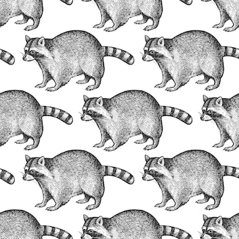 Seamless pattern with raccoon.