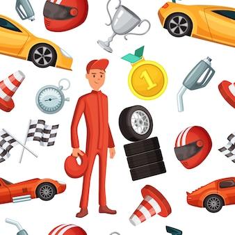 レーサーとレーシングスポーツカーのシームレスパターン。ベクトルスポーツイラストフォーミュラワン競争の背景