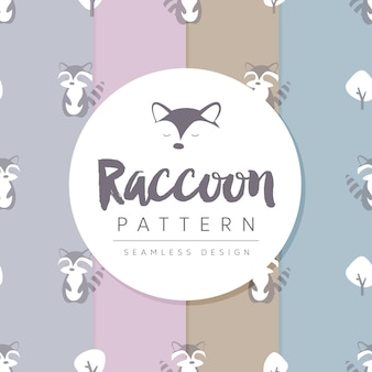 Seamless pattern with racoon between trees