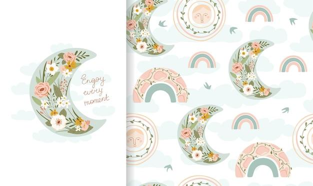 무지개와 꽃에 달 완벽 한 패턴