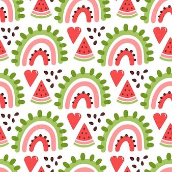 무지개와 수박 조각으로 매끄러운 패턴