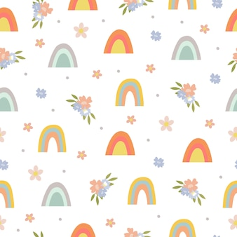Seamless pattern with rainbow and flowers