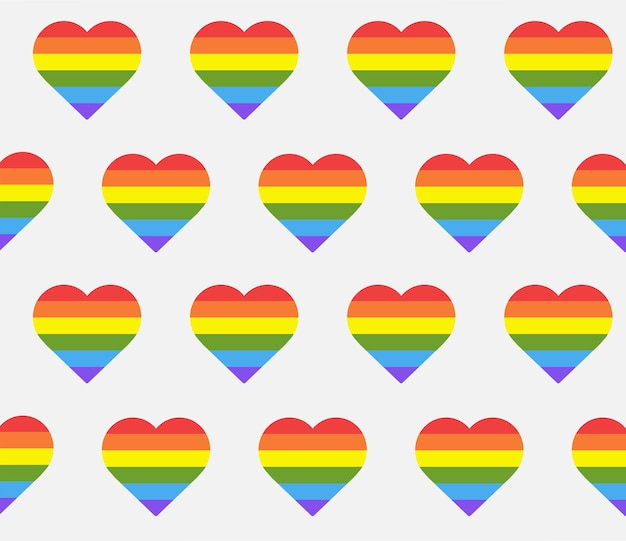 Seamless pattern with rainbow hearts heart shape in lgbtq flag on white background