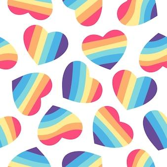 무지개 마음으로 완벽 한 패턴입니다. lgbt 커뮤니티 기호입니다. 발렌타인 카드 등을 위한 디자인 요소입니다. lgbt와 사랑 테마입니다. 게이 퍼레이드 배경