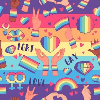 虹のlgbtの権利のシンボルとのシームレスなパターン。バレンタインカードなどのデザイン要素。lgbtと愛のテーマ。ゲイパレードの背景