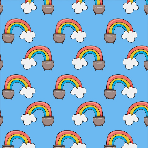 Seamless pattern with rainbow in pot