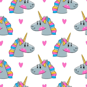 Seamless pattern with Rainbow Unicorn heads. Fashion kawaii animals.