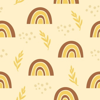 무지개와 꽃 요소와 원활한 패턴입니다.