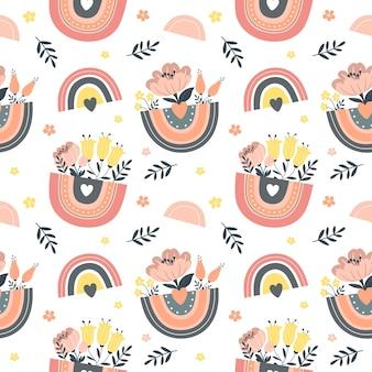 Seamless pattern with rainbows illustration