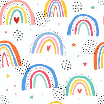 Seamless pattern with rainbows