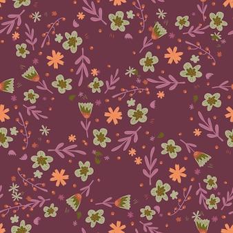 ランダムな植物の花と葉の飾りとのシームレスなパターン