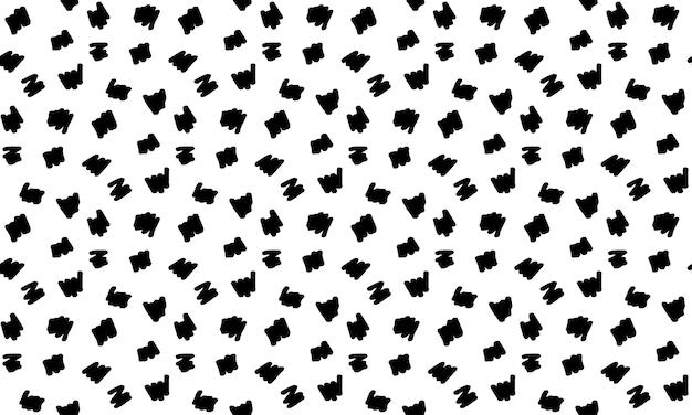 ランダムな落書き落書き線とのシームレスなパターン。手描きの散らばった波線のテクスチャ。包装紙、布プリント、スクラップブッキング用のモノクロのベクトルの背景。