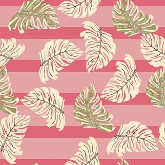 ランダムなモンステラの葉の飾りとのシームレスなパターン。ピンクの縞模様の背景。熱帯の背景。テキスタイル、ファブリック、ギフトラップ、壁紙のフラットベクタープリント。無限のイラスト。
