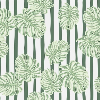 Seamless pattern with random monstera leaves silhouettes. botany exotic leaf wallpaper.