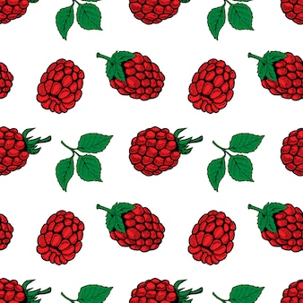 Seamless pattern with raspberries.  element for poster, flyer, menu.  illustration