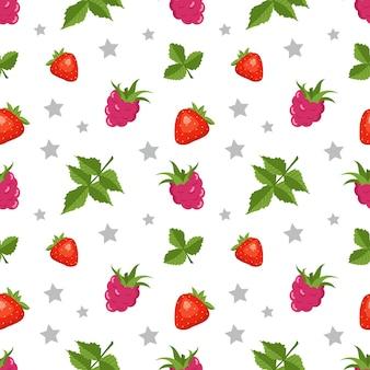 ラズベリーイチゴとのシームレスなパターン