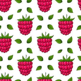 Бесшовный фон с ягодами и листьями малины. цветные элементы в линейном стиле