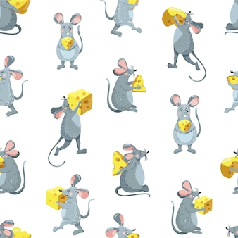 Seamless pattern with rats and cheese.