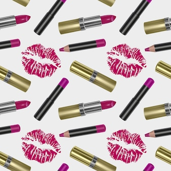Seamless pattern with realistic 3d lipstick, golden color