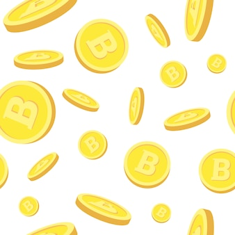 Seamless pattern with realistic bitcoins