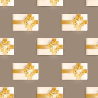 Бесшовный фон с реалистичными подарками. бесконечный фон. цвет шампанского. подходит для открыток, принтов, оберточной бумаги и фонов. векторная иллюстрация.