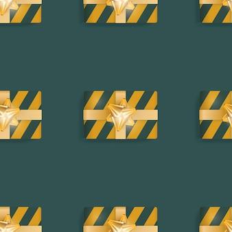 Бесшовный фон с реалистичными подарками. бесконечный фон. зелено-желтый цвет. подходит для открыток, принтов, оберточной бумаги и фонов. векторная иллюстрация.