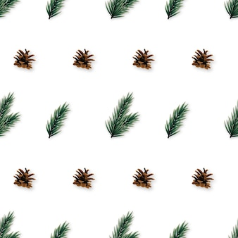 Seamless pattern with realistic pine tree branches and cones.