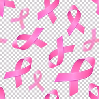 Seamless pattern with realistic pink ribbons on transparent background. breast cancer awareness symbol in october. template for banner, poster, invitation, flyer.