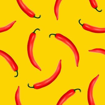 Бесшовные модели с реалистичным красным горячим натуральным перцем чили на желтом фоне