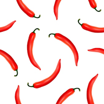 Seamless pattern with realistic red hot natural chili peppers on a white background.
