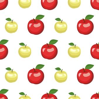 赤と緑のリンゴと葉とのシームレスなパターン。