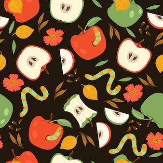 Бесшовный фон с красными и зелеными яблоками и червями на темном фоне. графика.