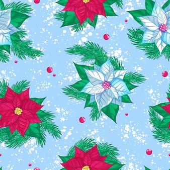 Бесшовный фон с красными и белыми пуансеттия. рождество или новогодняя зима