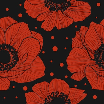 Seamless pattern with red anemones.