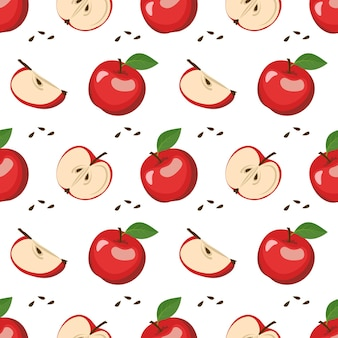 赤いリンゴ、種子、葉とのシームレスなパターン