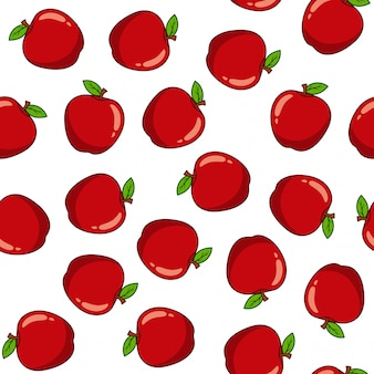 Seamless pattern with red apples