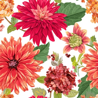 Seamless pattern with red asters flowers