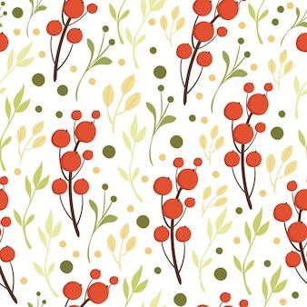 赤い果実とのシームレスなパターン