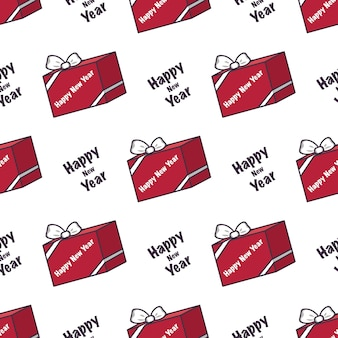 Seamless pattern with red boxes of gifts and the inscription happy new year festive print for christ...