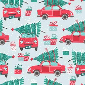 Бесшовные модели с красной машиной и елкой. рождественская картинка. красный пикап.