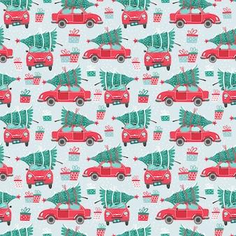 赤い車とクリスマスツリーとのシームレスなパターン。クリスマスの写真。赤いピックアップ。