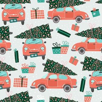 赤い車とクリスマスツリーとのシームレスなパターン。クリスマス。赤いピックアップ。新年