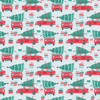 Seamless pattern with red car and christmas tree. christmas picture. red pickup. Premium Vector