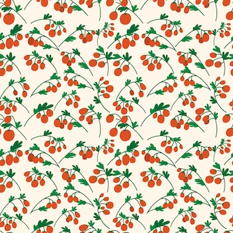 Seamless pattern with red cherry tomatoes on branches