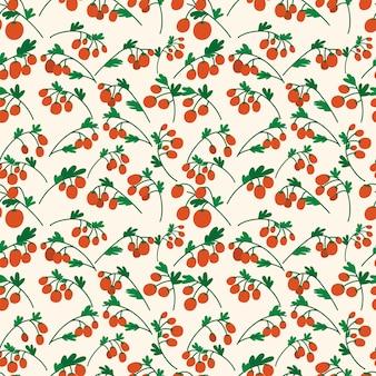 나뭇 가지에 빨간 체리 토마토와 함께 완벽 한 패턴