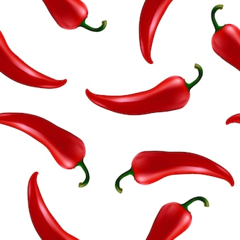 Seamless pattern with red chilli pepper
