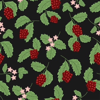 Seamless pattern with red currant berry plant and flower