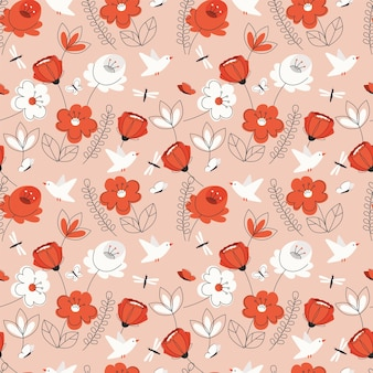 Seamless pattern with red flowers and leaves
